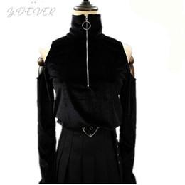 Discount velvet tee shirt - Harajuku Sexy Women Crop T Shirts Dark Black Gothic Punk Rock Turtleneck T-Shirt Velvet Tees Off Shoulder Long Sleeve Ri