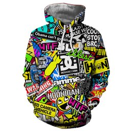 Chinese  2018 Autumn New Fashion 3d Hoodies Cartoon Animation 3D print Letter Graffiti Hooded Sweatshirt Funny casual Pullovers Tops Coat manufacturers