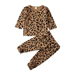 vest sleepwear Canada - Baby Summer Cotton Clothing Infant Kids Baby Girls Boys Casual Tracksuit Sleepwear Leopard Printed Children Clothes Set