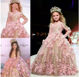14a51443cf Stunning 3D Pink Flora Sequined Flowers Girl Pageant Dresses Sheer Long  Sleeve Ball Gown Kids Toddler Formal Party Prom Dress