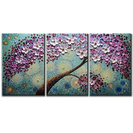 $enCountryForm.capitalKeyWord Australia - Hand Painted 3D Knife Painting Canvas Abstract Flower Picture Framed Painting Wall Art Living Room Bedroom Wall Decor