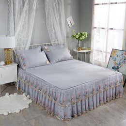 pink ruffled full bedding set 2019 - Cotton Soft Bed sheet set Double Layer Ruffled Lace Bed Skirts Twin Full Queen Size Peach Grey Pink Green Color Bedskirt
