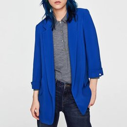 blue blazers Australia - Women basic notched collar solid blue blazer beading pearl pockets candy colors female retro casual outwear chic tops