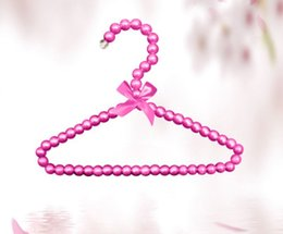 towels for dogs NZ - Luxury Pearl Hangers with Bow 20cm for Baby Infant Newborn Kids Pets Dogs Cats Clothes Storage Racks