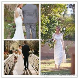 $enCountryForm.capitalKeyWord Australia - White Lace Backless Short Sleeves Beach Corset Cheap Boho Wedding Dresses Abiti Da Sposa in Spiaggia 2019 African Nigerian Lace Dress