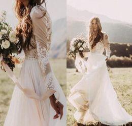 $enCountryForm.capitalKeyWord Australia - Long lace sleeve Wedding dresses strapless print wedding dress beautiful print decoration skirt bohemian wedding dress bridal gowns