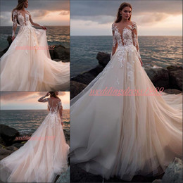 fae7997c86a4 Stunning bride dreSSeS online shopping - Stunning Sheer Blush Pink Wedding  Dresses With Long Sleeve Lace