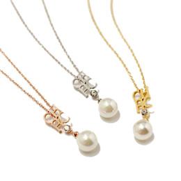 0f23e90fa40d 2019 nueva perla de acero inoxidable Collar de circonitas colgante para  mujer Joyería simple de moda para mujer