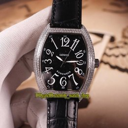 mens diamond watches 2019 - NEW MODELS CINTRÉE CURVEX REMEMBER 7880 B SC AT REM Black Dial Automatic Mens Watch Silvery Diamond Case Leather Strap S