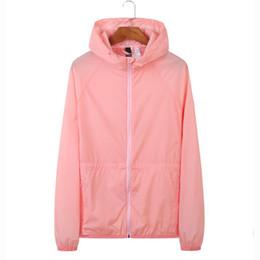 Venta al por mayor de 2019 Chaqueta de mujer Primavera Verano Abrigo fino Cortavientos Color rosa Cremallera Prendas de abrigo Moda Casual Hoodies para mujeres