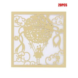 beautiful invitation cards 2020 - 20PCS SET Beautiful Luxurious Wedding Decoration Supplies Hollow Out Lace Engagement Wedding Party Invitation Cards chea