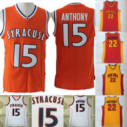 5c06bce9a32 Syracuse College NCAA Jersey #15 Carmelo Anthony 22 Carmelo Anthony High  School Basketball Jersey Stitched Men Jersey Free Shipping
