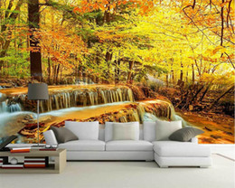 Autumn wAllpApers online shopping - wallpaper Autumn Woods Waterfalls Flowing Water Landscape Tv Background Wall Living room d wallpaper