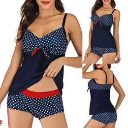 $enCountryForm.capitalKeyWord Australia - Plus Size Swimwear Women Dot Print Tankini Swimsuit With Shorts Padded Conservative Bow Beach Two Pieces Swimming Suit For Women