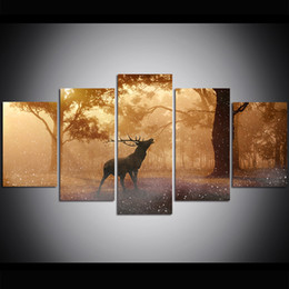 $enCountryForm.capitalKeyWord Australia - 5 Piece Large Size Canvas Wall Art Forest Autumn Deer Oil Painting Wall Art Pictures for Living Room Paintings Wall Decor