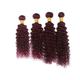 $enCountryForm.capitalKeyWord Australia - Brazilian Deep Wave Human Hair Extension #99J Hair Weaves 10-30 Inch Pour Color Wine Red Burgundy Deep Wavy Hair Bundles 4Pcs Lot