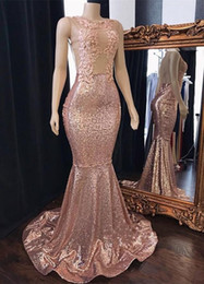 $enCountryForm.capitalKeyWord Australia - 2019 Bling Sequined Rose Gold Prom Dresses Jewel Neck Lace Appliques Sequins Mermaid Sheer Back Plus Size Formal Evening Gowns Pageant Wear