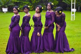 Floor length sleeves online shopping - Robe Demoiselle D honneur Long Sleeve Mermaid Bridesmaid Dresses Purple Boat Neck Lace Junior Formal Dress for Wedding Party