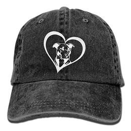 Hat Bulls Canada - 2019 New Wholesale Baseball Caps Print Hat High Pit Bull Heart Mens Cotton Adjustable Washed Twill Baseball Cap Hat