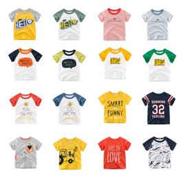 Infant Boys Fashion Australia - INS Free DHL Designing Boys Tees Summer Infant Cotton Girls Cartton Car Dinosaur Lion TODAY SharK STOP Letters T-shirts Suits For 1-10T