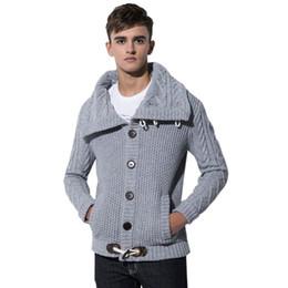 3947d4627 Suéter de los hombres Cálido Espesar Suéter para el otoño invierno Hombres  de manga completa Cuello alto Lana gruesa de punto suéter botones Cardigan