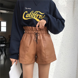 aae3c1c992 2019 Autumn New Korean Style Female Sexy Leather Shorts High Waist Loose  Wide Leg Short Femme Elastic Waist Belt Free Shipping
