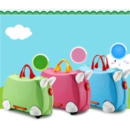 Pull rod online shopping - Children Suitcase Outdoor Travel Can sit to ride Luggage Box Portable Plane Carry Rolling Pull Rod Bags Kids Toys Trolley Cases