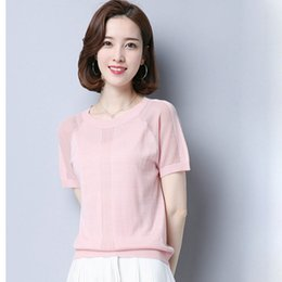 knitted wear jumpers UK - Hollow Out Tops Women Summer Fashion Short Sleeve Pullover Knitted Sweater Jumper Top Thin Leisure Knit Wear Sweater
