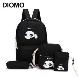 $enCountryForm.capitalKeyWord Australia - DIOMO panda bag female canvas school backpack set for boys with girls teenagers laptop bagpack women crossbody pencil case child