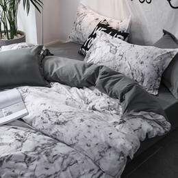 luxury super king size beds 2020 - Luxury Bedding Set Duvet Cover Sets 3pcs Marble Super King Size Single Swallow Queen Full Twin Black Comforter Bed Linen