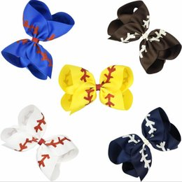 Large boutique hair bow cLip online shopping - 4 Inch Glitter Printed Ribbon Baseball Bow With Clip For Kids Girls Handmade Boutique Large Hairgrips Hair Accessories MMA1678