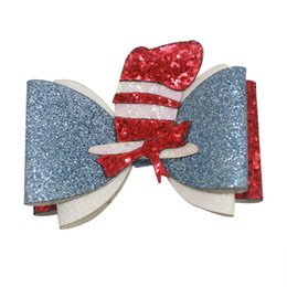 $enCountryForm.capitalKeyWord Australia - 4.5 Inch Dr Seuss Things1 2 Sweet Barrettes Guitar Synthetic Leather Embroidery Hair Bow Clips Shining Hair Accessories Princess