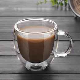 Double Layer Tea Glasses Australia - 200ml Cup Double Wall Glass Coffee Tea New Heat-resistant Double Layer Glass Handle Coffee Glass Cup for Home Offices Hotel