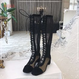 Black Cutters Australia - women's boot lace up knee-length boot square toe mesh shoes low cutter casual shoes party footwear