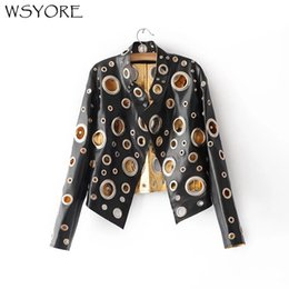 $enCountryForm.capitalKeyWord Australia - WSYORE Punk Style Rock and Roll Black Gold Silver Color Faux Leather Jacket 2018 New Women Autumn Hollow Out PU Jacket NS327