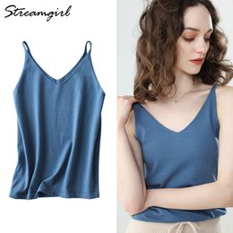 550dd3a92ca3 Knit Cami Top Tank Tops For Women Summer Halter Sleeveless Knitted V Neck  Top Sexy Camisole Crop Tops Female Outwear Women 2019 Y19042801