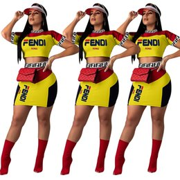 $enCountryForm.capitalKeyWord Australia - Women F Letter Shorts Tracksuit Block Letter Zipper Suit Top + short skirt 2 Piece Set Summer FF Outfits