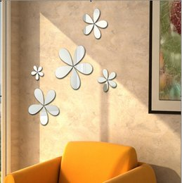 Flower mirrors acrylic online shopping - Product Name Factory direct selling flower acrylic mirror wall stickers creative D vertical cartoon wall stickers