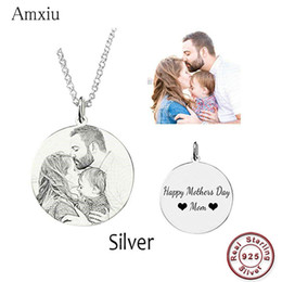 $enCountryForm.capitalKeyWord Australia - Amxiu Customized Family Lovers Picture Pendant Personalized 925 Sterling Silver Necklace Engrave Name Photo Necklace Jewelry J190711