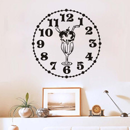 ice plane NZ - 1 Pcs New Design Creative Food Wall Stickers Kitchen Room Decoration Clock With Ice-Cream Diy Vinyl Adesivo De Paredes Home Decals Art