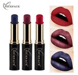 $enCountryForm.capitalKeyWord Australia - New Velvet Waterproof Lip Stick Sexy Red Blue Nude Lipstick Long Lasting Never Fade Lip Gloss Make up Matte Metal Beauty Lips