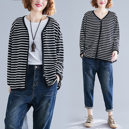 Striped ladieS jacketS online shopping - BIG SIZE Spring Autumn Women Fashion Elegant Stripe Bolero Tops Ladies Female Plus Large Cotton Outerwear Cardigan Jacket Coat