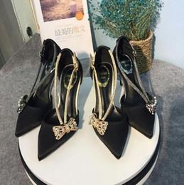 $enCountryForm.capitalKeyWord Australia - Hot Sale-Women Satin Summer Pointed Toes Pumps Bowtie Rhinestone Buckle Strap Shallow mouth Stiletto Women Prom Party Wedding Work Shoes