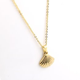 necklaces pendants NZ - Fashion Chain Charm Seashell Pendant Necklaces Stainless Steel Rose Gold Color Shell Long Necklace for Women Jewelry Accessories