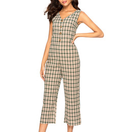 $enCountryForm.capitalKeyWord Australia - Overalls for Womens Jumpsuit Lattice Button V-Neck Wide Leg Pants Long Jumpsuit Backless Playsuit Romper Women office lady