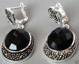 $enCountryForm.capitalKeyWord Australia - brinco wedding wholesale good Vintage 925 Sterling Silver Natural Faceted Black stone Onyx Marcasite Earrings for women jewelry