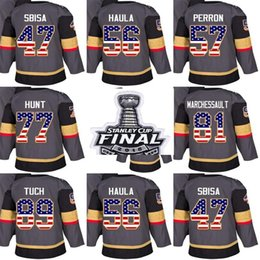 ice flags Australia - stanley cup final Vegas Golden Knights 47 Luca Sbisa 56 Erik Haula 57 David Perron 77 Brad Hunt 89 Tuch USA Flag Ice Hockey Jerseys