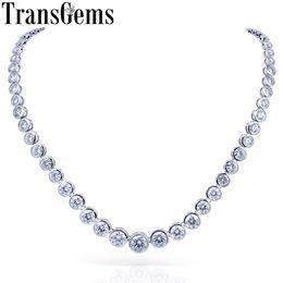 $enCountryForm.capitalKeyWord Australia - Transgems 18k 750 White Gold 13ctw Bezel Full Moissanite Necklace Eternity Chocker Necklace For Women Fine Jewelry Wedding Gifts Y190726
