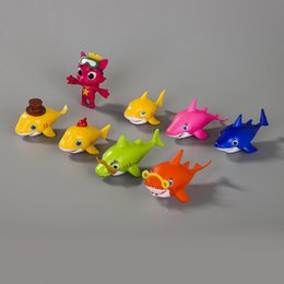 $enCountryForm.capitalKeyWord Australia - Baby SHARK Action Figures Doll Toys 5CM Cute Shark Doll 8pcs lot Best kids toys Free shipping via DHL