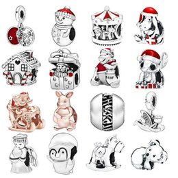 pandora christmas charms Australia - 2019 Winter New 100% 925 Sterling Silver loose Beads Merry Christmas Charm fit Original Pandora Bracelets Women DIY fine Jewelry red charms